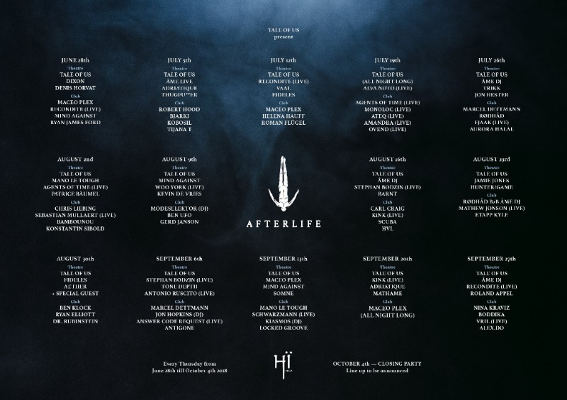Hï Ibiza announces Afterlife 2018 weekly programme