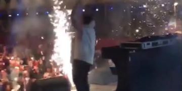 EDM DJ Breaks the stage, literally